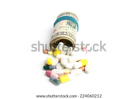 american paper currency and medical pill as pay medicine  - stock photo