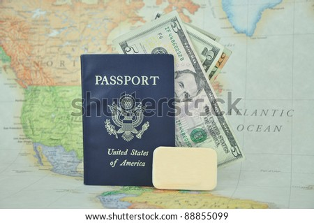 American Passport with U.S. Currency Blank Tag on Map Background - stock photo