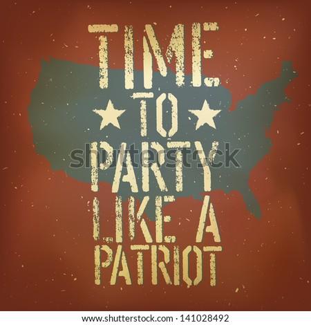 American patriotic poster. Raster version, vector file available in my portfolio. - stock photo