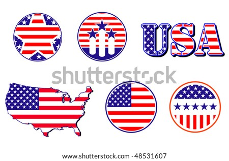 American patriotic symbols set for design and decorate. Vector version is also available