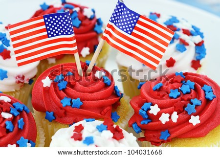 American patriotic themed cupcakes for the 4th of July.  Shallow depth of field.