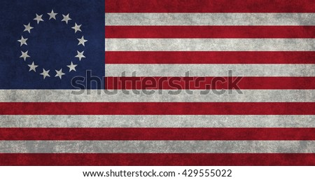 American 13 point historic flag often named the Betsy Ross flag, this version features vintage retro textures. - stock photo