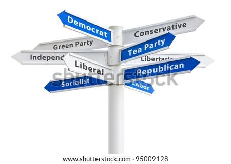 American Political parties on a crossroads sign: Democrat, Republican, Conservative, Tea Party, Libertarian, Labor, Green, Independent, Liberal, Socialist - stock photo