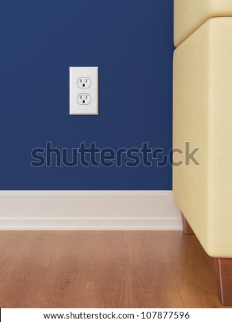 American Power outlet on blue wall with wooden floor - stock photo