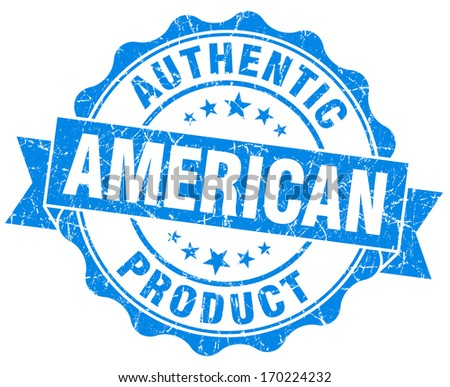 American product grunge blue stamp - stock photo