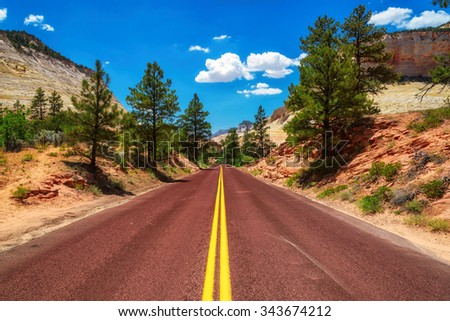 American road in Zion Canyon National Park, Utah - stock photo