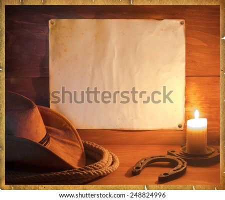 American rodeo cowboy background with western hat and lasso for text - stock photo