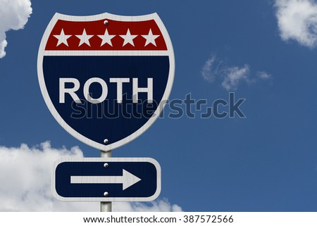 American Roth Highway Road Sign, Red, White and Blue American Highway Sign with words Roth with sky background