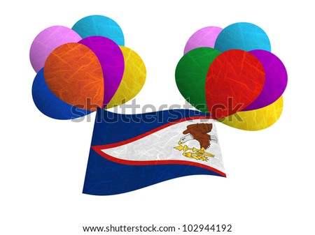 American Samoa flag balloon on the wind. Mulberry paper on white background.
