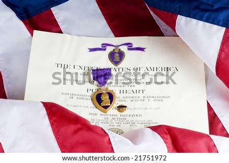 American service award for being wounded in action - stock photo