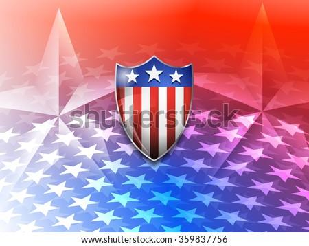 American Shield on a Stars America Background - Raster Version - stock photo