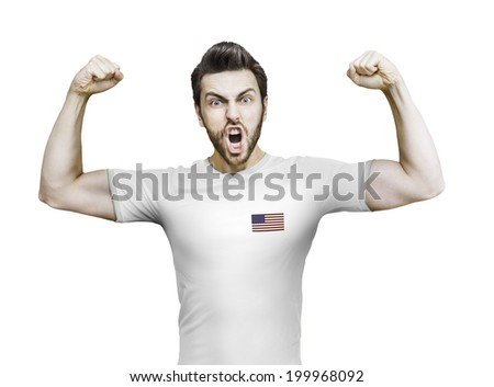 American soccer player celebrates on white background
