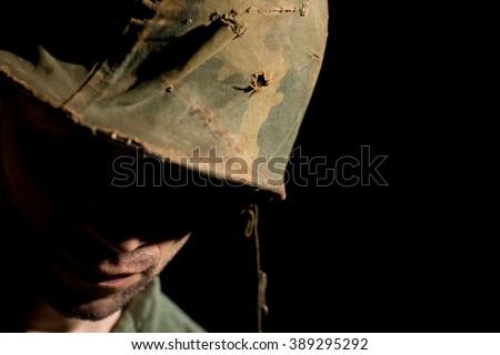 American Soldier With PTSD - Vietnam War - stock photo