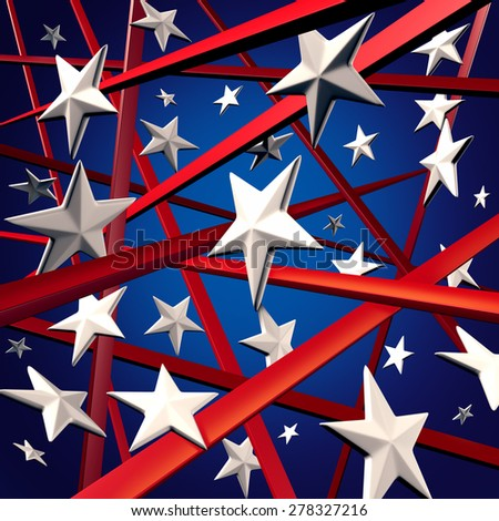 American stars and stripes and United States three dimensional flag background design element with red white and blue colors celebrating fourth of July and election time. - stock photo