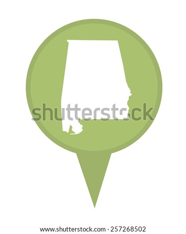 American state of Alabama marker pin isolated on a white background. - stock photo