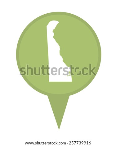 American state of Delaware marker pin isolated on a white background. - stock photo