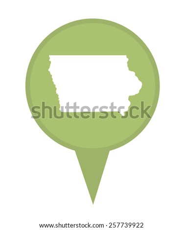 American state of Iowa marker pin isolated on a white background. - stock photo