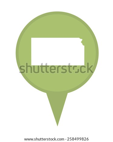 American state of Kansas marker pin isolated on a white background. - stock photo
