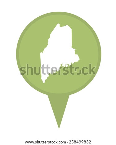 American state of Maine marker pin isolated on a white background. - stock photo