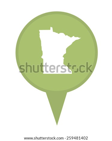 American state of Minnesota marker pin isolated on a white background. - stock photo