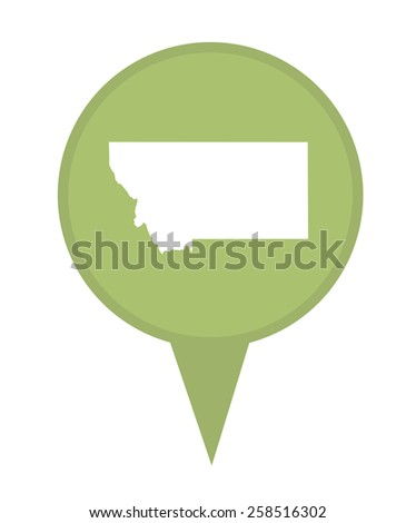 American state of Montana marker pin isolated on a white background. - stock photo