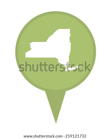 American state of New York marker pin isolated on a white background. - stock photo