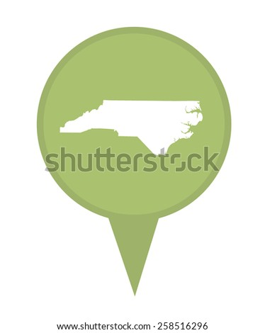 American state of North Carolina marker pin isolated on a white background. - stock photo