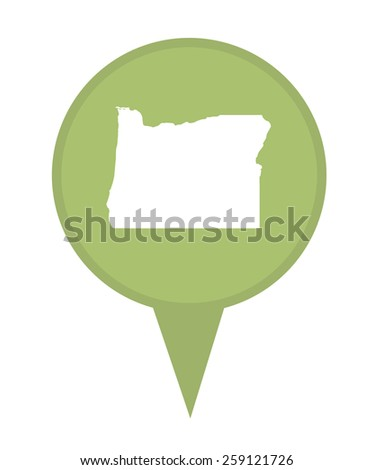American state of Oregon marker pin isolated on a white background. - stock photo