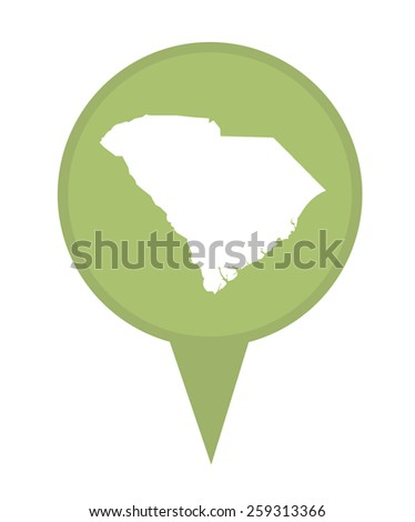 American state of South Carolina marker pin isolated on a white background. - stock photo