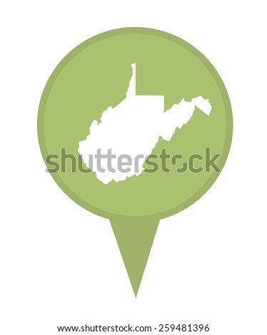 American state of West Virginia marker pin isolated on a white background. - stock photo