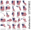American States From A to M  flag maps on a white background - stock photo