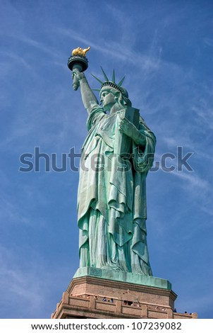 American Statue of Liberty-Liberty Island-Manhattan - stock photo