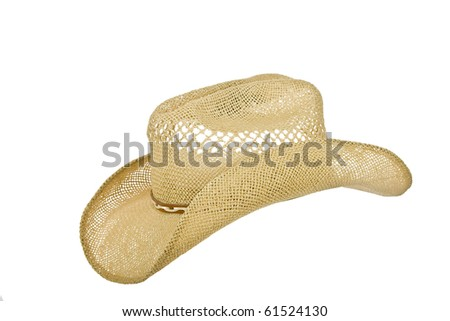 American straw cowboy hat isolated on white - stock photo