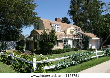 American style house captured in Hollywood, Los Angeles. - stock photo