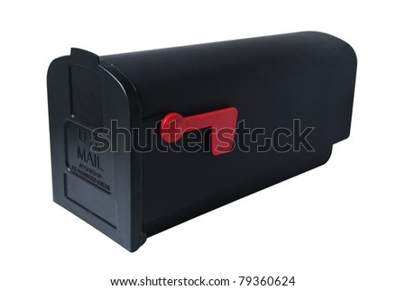 American-style mailbox, closed with lowered flag. Studio shot, isolated on white background, saved with clipping path - stock photo