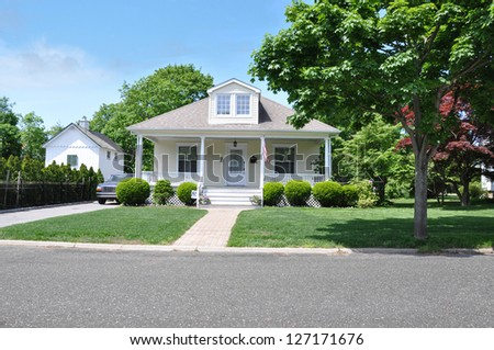 American Suburban Bungalow Home in Residential Neighborhood - stock photo
