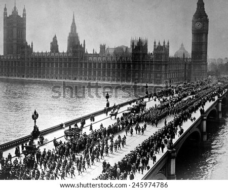 American troops starting a parade through London on Westminster Bridge. WWI. Sept. 5, 1917. - stock photo