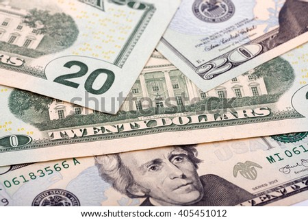 American twenty dollars, a background  - stock photo