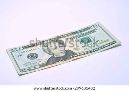 American 20 U.S. dollars on a white background - stock photo