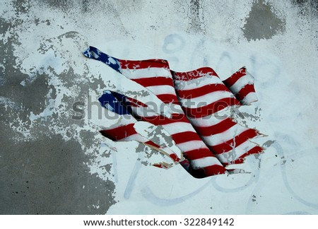 American (USA) flag on the wall in vintage style.  - stock photo
