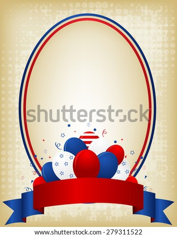 American / USA grunge patriotic frame with ribbon banner and balloons on bottom. A traditional vintage american poster design - stock photo