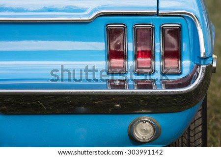 American vintage car, rear view  - stock photo