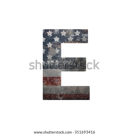 American vintage flag in letter e - stock photo