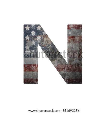 American vintage flag in letter n - stock photo