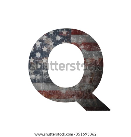 American vintage flag in letter q - stock photo