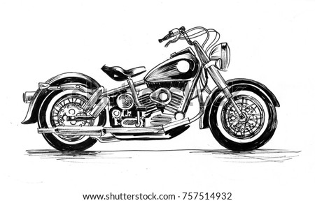 American vintage motorcycle black and white ink drawing