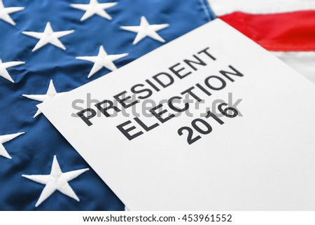 American vote concept. Voter registration application for presidents elections 2016 on stars and stripes background - stock photo