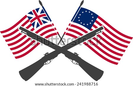 american war of independence. first variant. raster version - stock photo