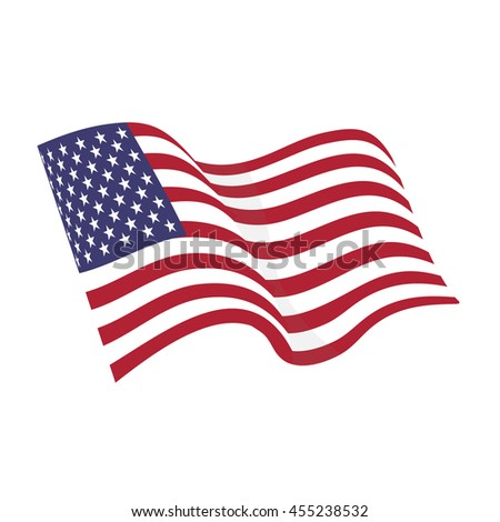 American waving flag raster icon, national symbol, red, white and blue with stars