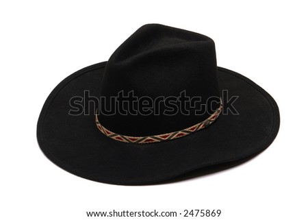 American West rodeo black felt cowboy hat isolated on white 